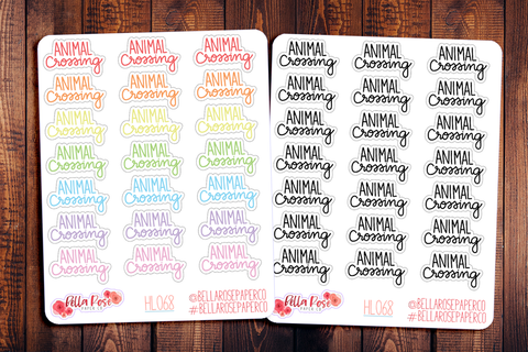 Animal Crossing Lettering Planner Stickers HL068