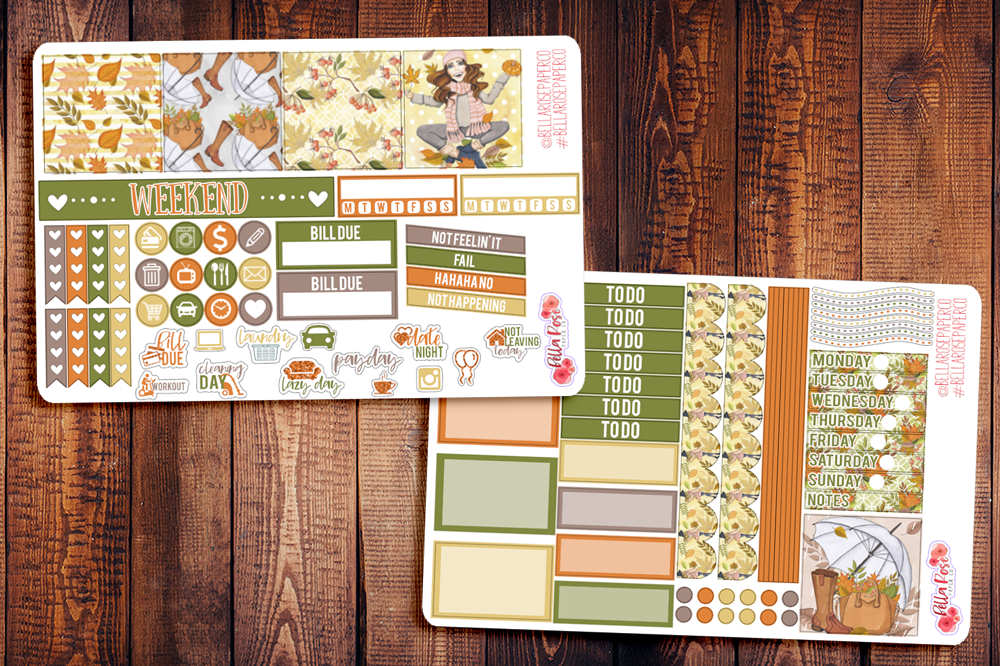 Autumn Breeze Mini Happy Planner Sticker Kit F002