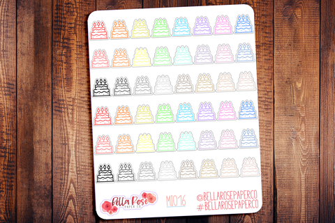 Birthday Cake Mini Icon Planner Stickers MI016