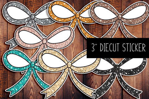 Signature Glitter Bow Diecut Sticker