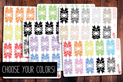"Bow Tab 1"" Planner Stickers B062"