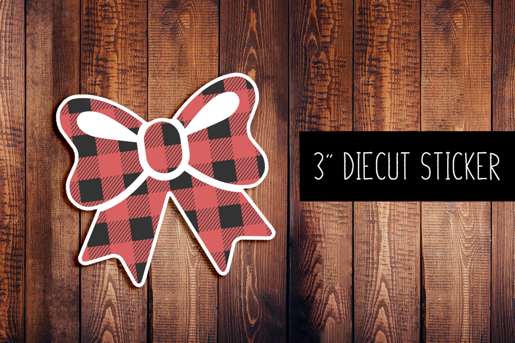 Buffalo Plaid Bow Diecut Sticker