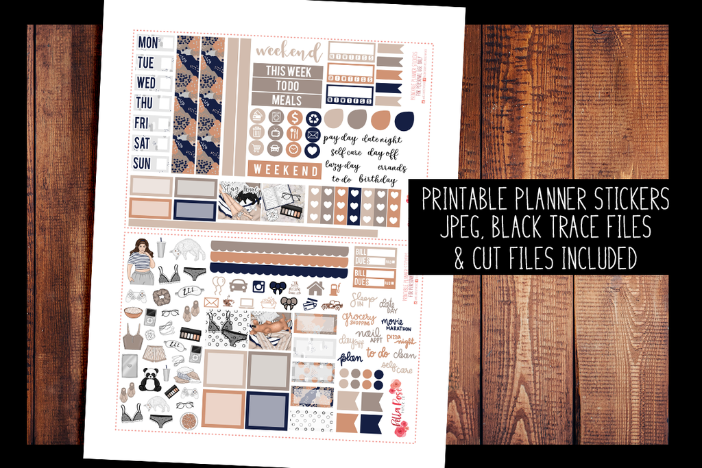 Let's Stay Home Hobonichi Weeks Kit | PRINTABLE PLANNER STICKERS