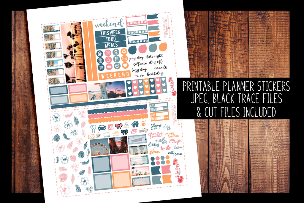 Cali Vibes Photo Hobonichi Weeks Kit | PRINTABLE PLANNER STICKERS