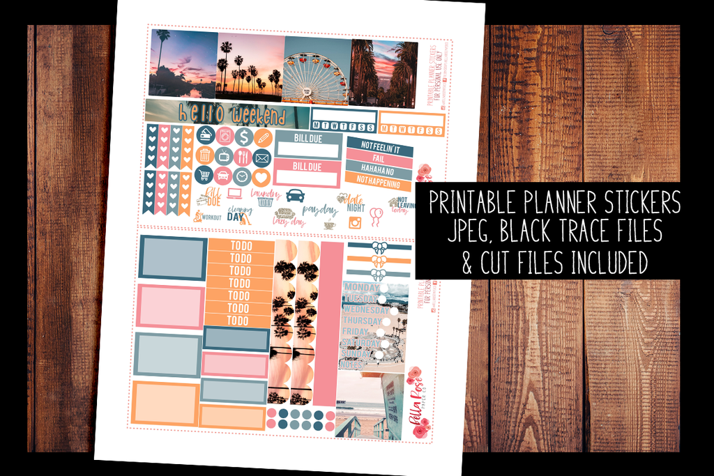 Cali Vibes Photo Mini Happy Planner Kit | PRINTABLE PLANNER STICKERS