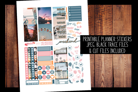 Cali Vibes Photo Mini Planner Kit | PRINTABLE PLANNER STICKERS