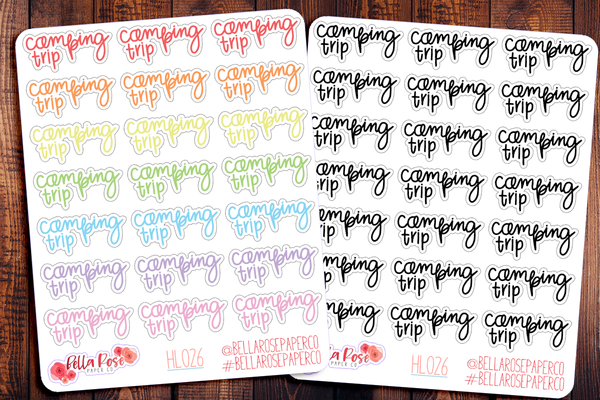 Camping Trip Hand Lettering Planner Stickers HL026