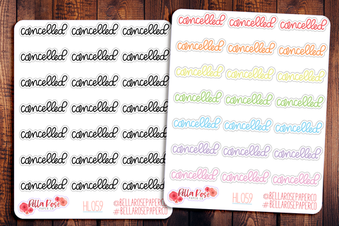 Cancelled Lettering Planner Stickers HL059