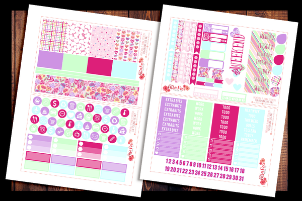 Candy Hearts Planner Kit | PRINTABLE PLANNER STICKERS