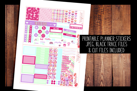 Candy Hearts Mini Happy Planner Kit | PRINTABLE PLANNER STICKERS