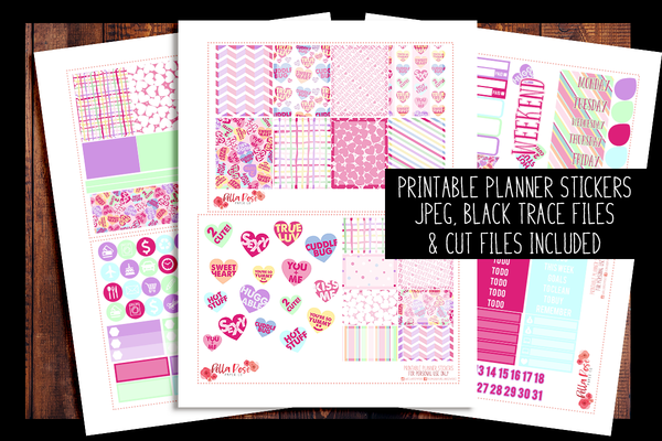 Candy Hearts Happy Planner Kit | PRINTABLE PLANNER STICKERS