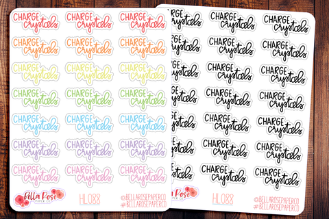 Charge Crystals Hand Lettering Planner Stickers HL088