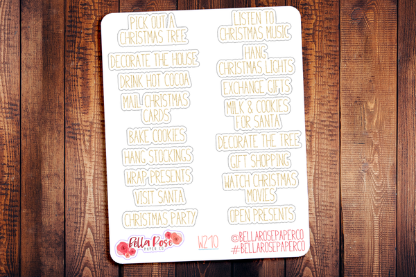 Christmas Bucket List Planner Stickers W210