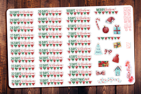 Christmas Countdown Planner Stickers W207