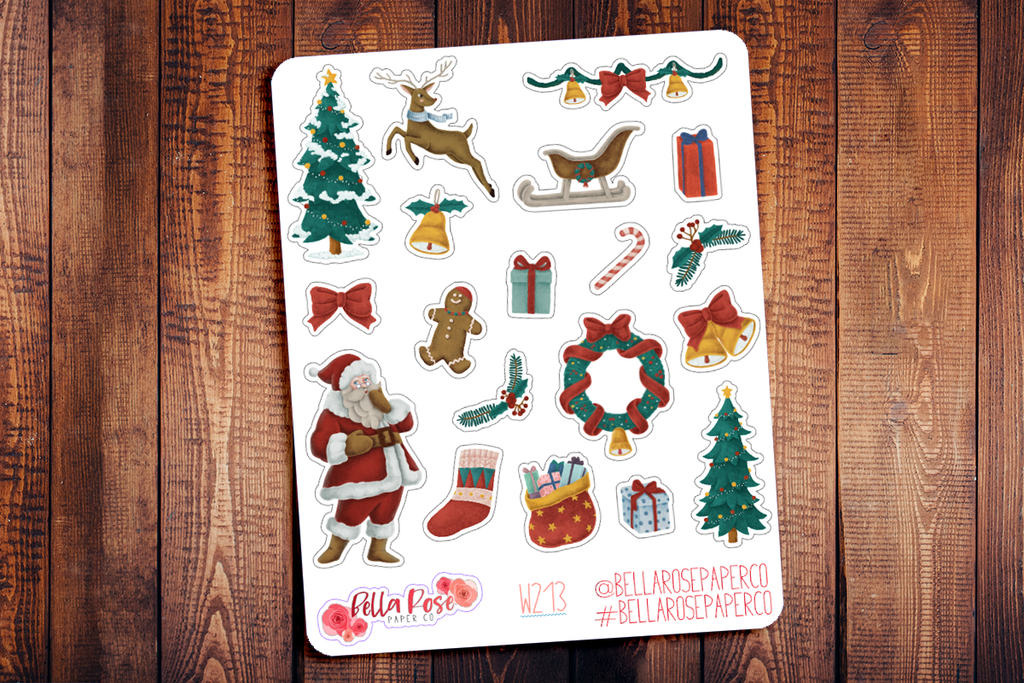 Vintage Christmas Deco Planner Stickers W213