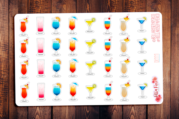 Summer Cocktails Planner Stickers DI111