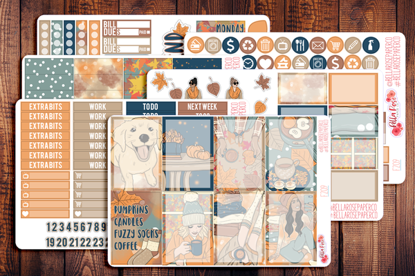 Cozy Fall Vibes Planner Sticker Kit F209