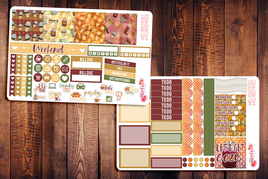 Cozy Autumn Day Mini Happy Planner Sticker Kit F007
