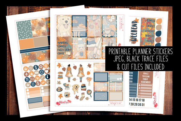 Cozy Fall Vibes Happy Planner Kit | PRINTABLE PLANNER STICKERS