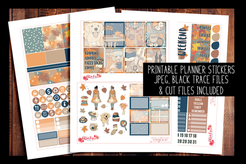 Cozy Fall Vibes Planner Kit | PRINTABLE PLANNER STICKERS