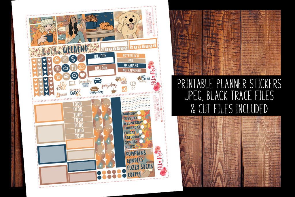 Cozy Fall Vibes Mini Happy Planner Kit | PRINTABLE PLANNER STICKERS