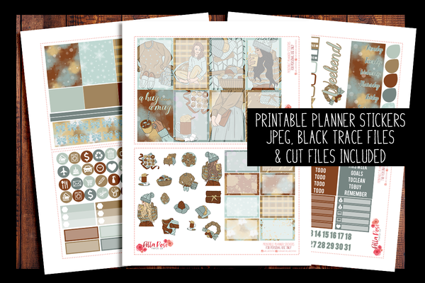 Cozy Winter Happy Planner Kit | PRINTABLE PLANNER STICKERS
