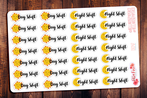 Day Shift/Night Shift Lettering Planner Stickers DI047