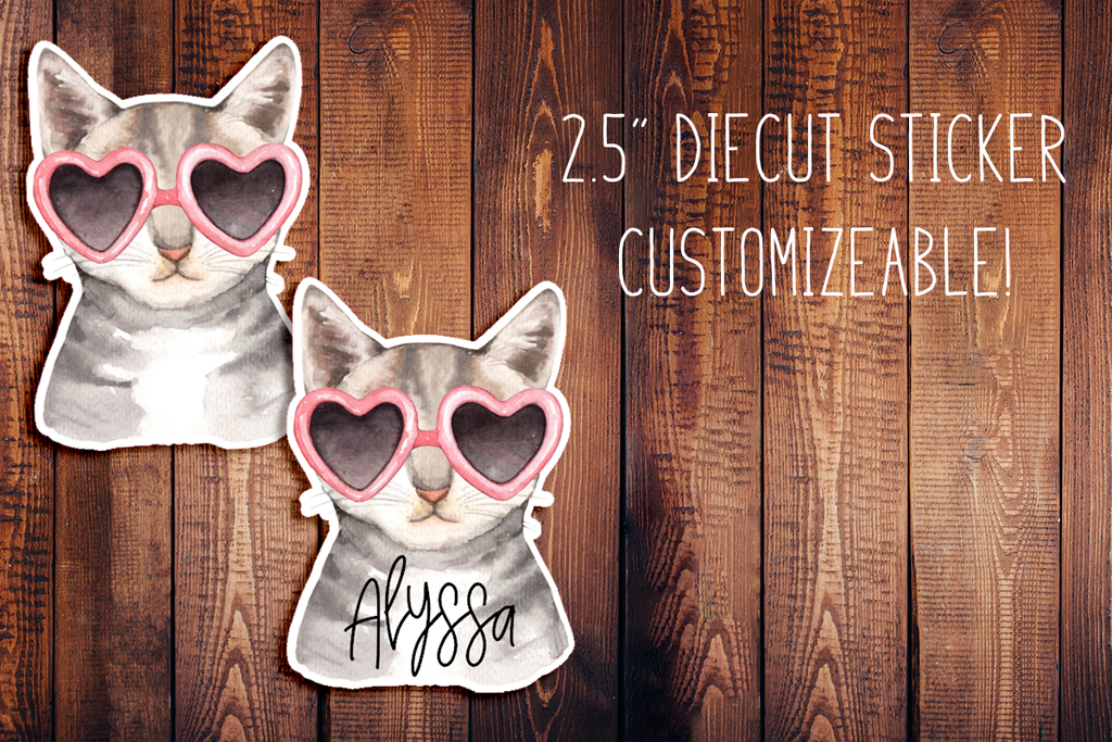 Fancy Cat Customizeable Diecut Sticker