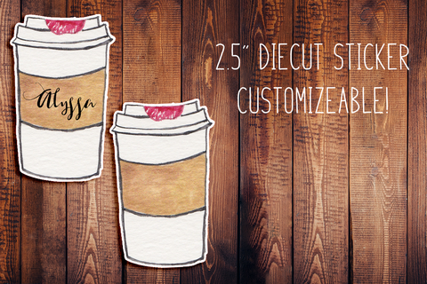 Hand Painted Watercolor Coffee Customizeable Diecut Sticker