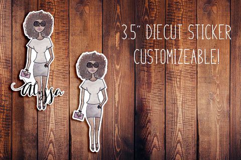 Hand Painted Watercolor Fashion Girl Customizeable Diecut Sticker