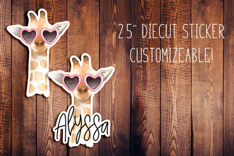 Fancy Giraffe Customizeable Diecut Sticker