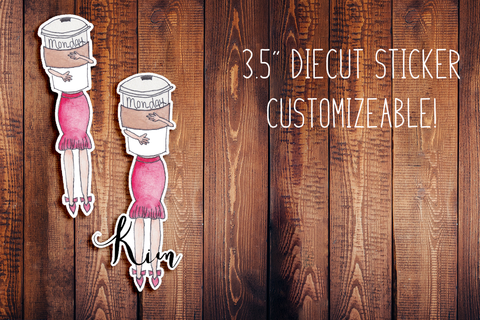 Hand Painted Watercolor Monday Girl Customizeable Diecut Sticker