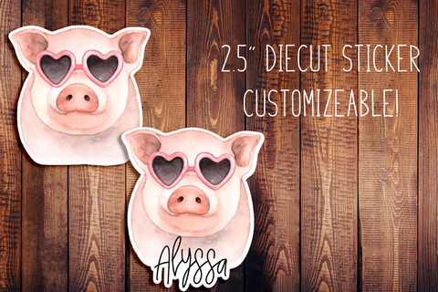Fancy Pig Customizeable Diecut Sticker