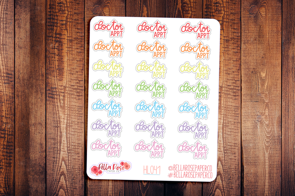 Doctor Appointment Hand Lettering Planner Stickers HL041
