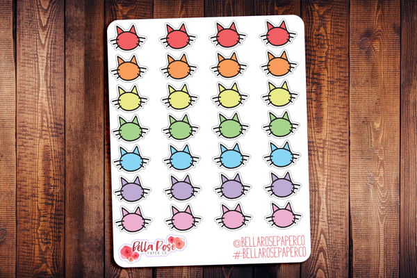 Cat Icon Doodle Hand Drawn Planner Stickers