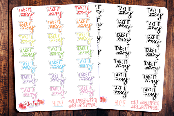 Take It Easy Hand Lettering Planner Stickers HL047