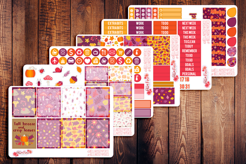 Fall Breeze & Crisp Leaves Planner Sticker Kit F013