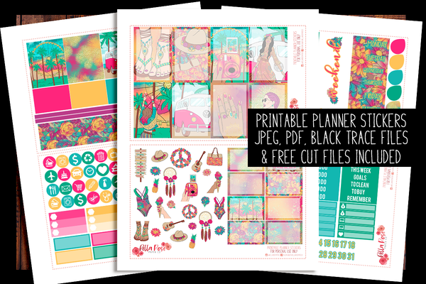 Summer Festival Happy Planner Kit | PRINTABLE PLANNER STICKERS