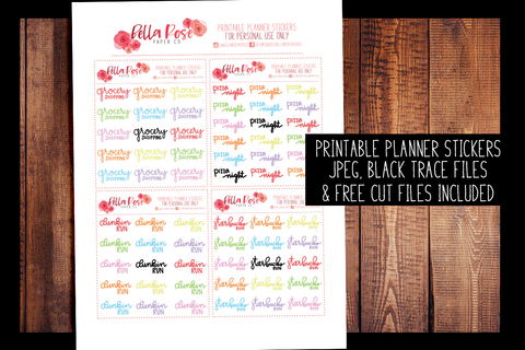 Food and Coffee Hand Lettered Planner Stickers | PRINTABLE PLANNER STICKERS