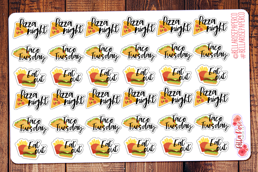 Taco Tuesday, Pizza Night, Eat Out Lettering Planner Stickers DI011