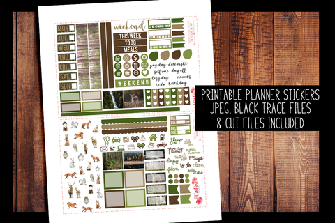 Forest Friends Hobonichi Weeks Kit | PRINTABLE PLANNER STICKERS