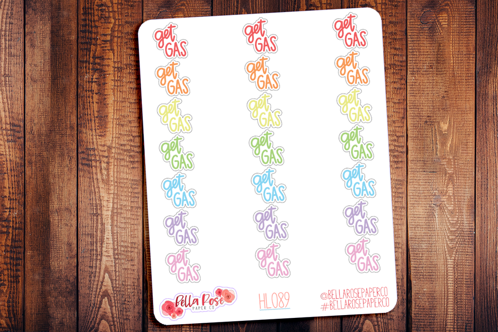 Get Gas Hand Lettering Planner Stickers HL089