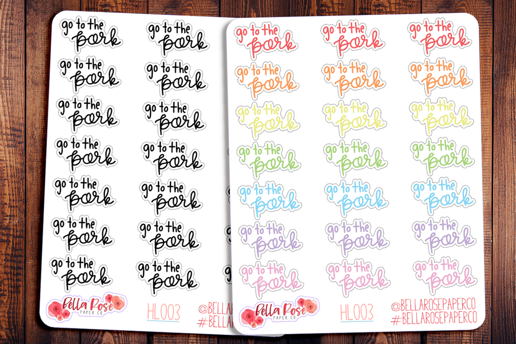 Go To The Park Hand Lettering Planner Stickers HL003