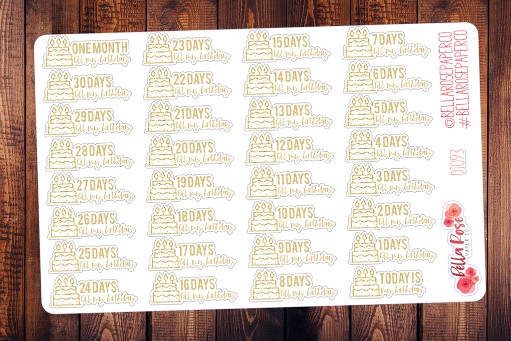 Gold Birthday Countdown Planner Stickers DI093
