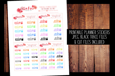 Groceries Planner Stickers | PRINTABLE PLANNER STICKERS