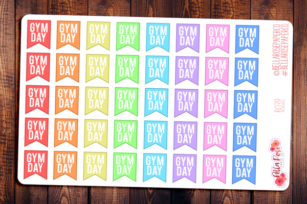 Gym Day Workout Flag Planner Stickers B039