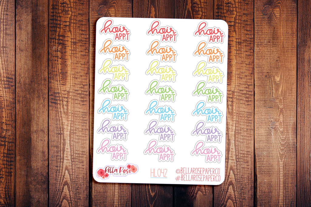Hair Appointment Hand Lettering Planner Stickers HL042