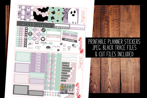 Pastel Halloween Mini Happy Planner Kit | PRINTABLE PLANNER STICKERS