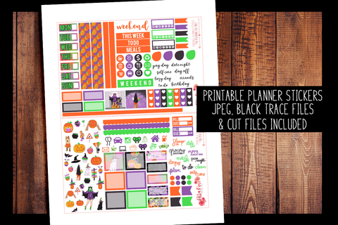 Happy Halloween Hobonichi Weeks Kit | PRINTABLE PLANNER STICKERS