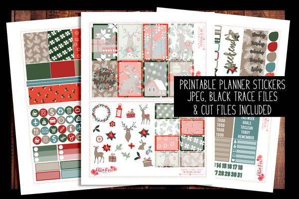 Happy Holidays Happy Planner Kit | PRINTABLE PLANNER STICKERS